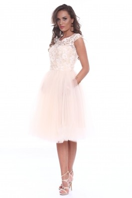 Rochie creme Roserry din dantela si tulle
