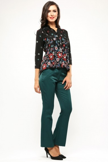 Bluza tip camasa din bumbac October Flowers - Sweet Rose of Mine multicolor