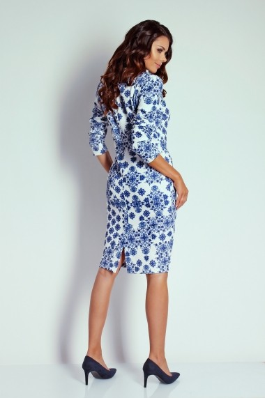 Rochie NAOKO GLB-AT5 WHITE BLUE Alb - els