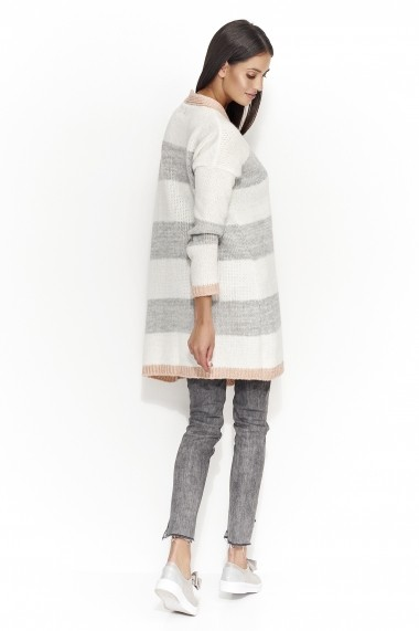 Cardigan Numinou GLB-NU s25 salmon-light grey-ecru Roz - els