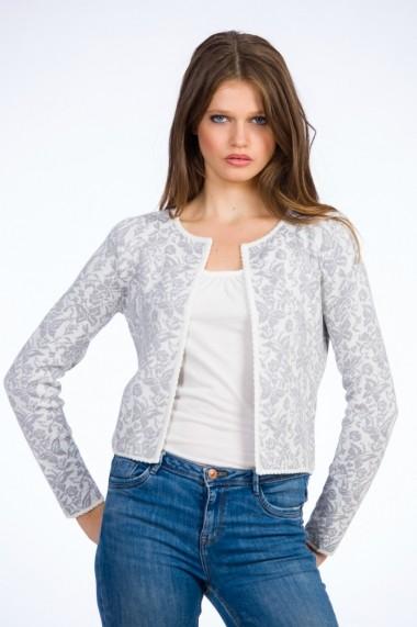 Jacheta pentru femei Be You cu fluturi gri pe fond alb