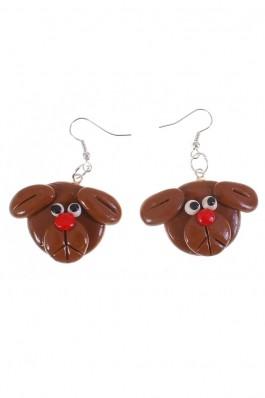 Cercei handmade Pretty Pretties brown puppy, preturi, ieftine