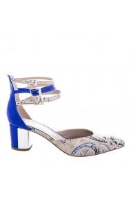 Pantofi pentru femei marca CONDUR by alexandru albastri cu imprimeu nude