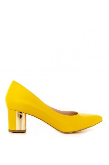 Pantofi cu toc CONDUR by alexandru din box galben, toc patrat
