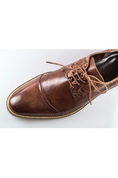Pantofi pentru barbati Basil Jones maro cu siret si detalii croco
