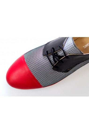 Pantofi Thea Visconti rosu-pepit-negru
