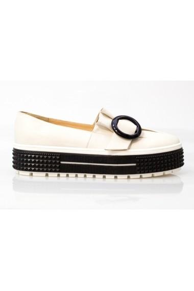 Pantofi Thea Visconti bej cu pliuri