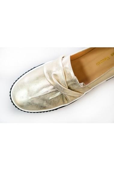 Pantofi Thea Visconti aurii cu pliuri