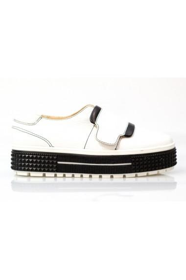 Pantofi Thea Visconti alb-negri cu talpa Celeste