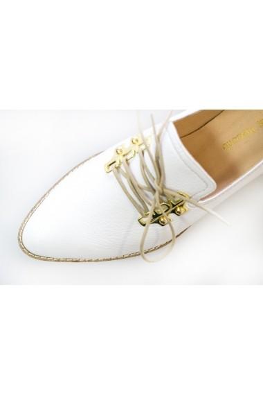 Pantofi Thea Visconti albi cu decor metalic