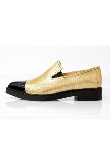 Pantofi Thea Visconti negru-lac cu bronz pe talpa Gema