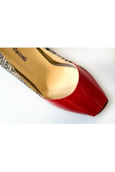 Pantofi Thea Visconti rosu-lac cu sarpe