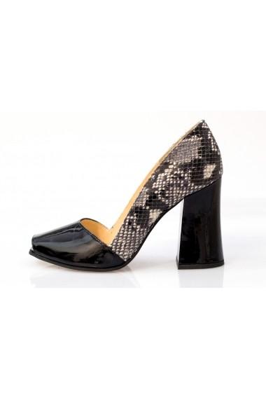 Pantofi Thea Visconti negru-lac cu sarpe