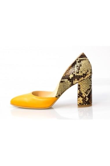 Pantofi Thea Visconti mustar cu sarpe
