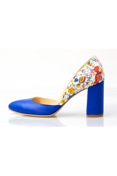 Pantofi Thea Visconti albastri cu toc cu print muguri