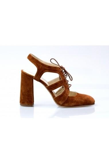 Sandale pentru femei Thea Visconti cu toc evazat si cu siret