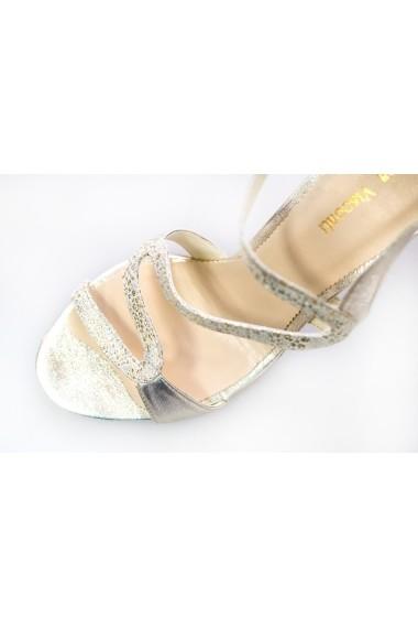 Sandale pentru femei Thea Visconti argintiu-bej cu picouri