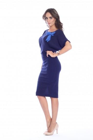 Rochie bleumarin Roserry midi tricotata