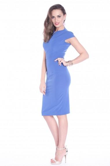 Rochie albastra Roserry midi din stofa