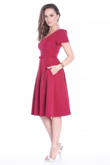 Rochie marsala Roserry clos din stofa eleganta