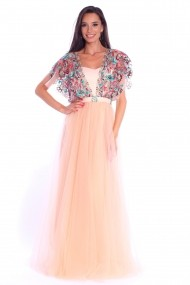 Rochie creme Roserry lunga din tulle brodat rosu