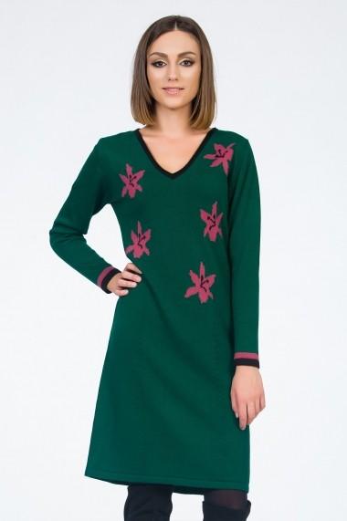 Rochie de zi Sense Pretty in Green verde+roz