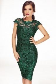 Rochie Miss Grey din dantela Tania Verde Smarald