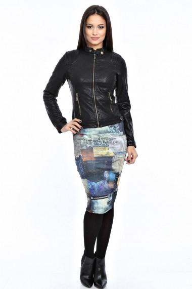 Jacheta Roh Boutique din piele ecologica - JR105 negru ROH-3975