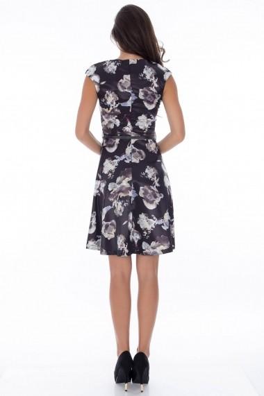 Rochie Roh Boutique din satin, cu imprimeu floral - DR2120 negru