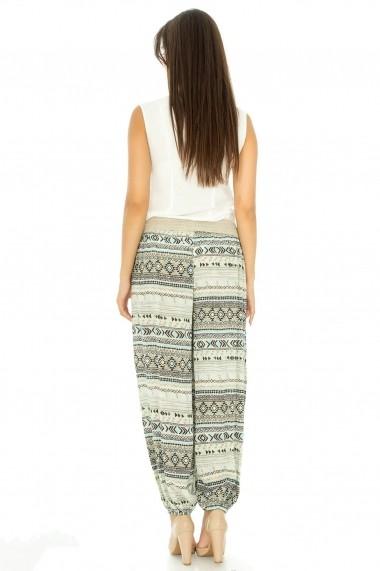 Pantaloni Roh Boutique din vascoza - TR123 crem|turcoaz