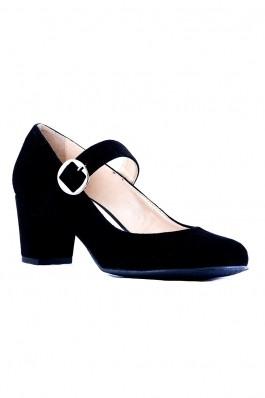 Pantofi IMAGE negri cu toc gros DK026-499