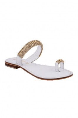 Papuci IMAGE albi cu strasuri aurii DKJN40299, preturi, ieftine