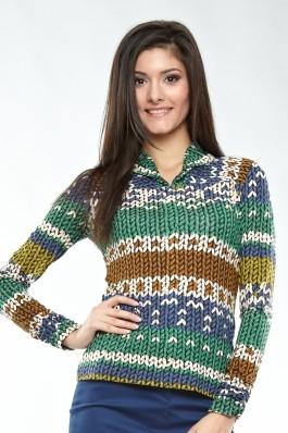 Bluza Madame tricot imprimat cu platca si guler rasfrant si baza maneci incretite. Albastru