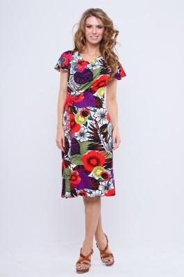 Rochie Madame tricot imprimat flori, cu guler godat, aripioare si fronseu lateral legat cu siret rosu. Rosu