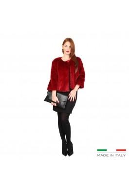 Jacheta Fontana AMBRA scurta rosie, din blana sintetica