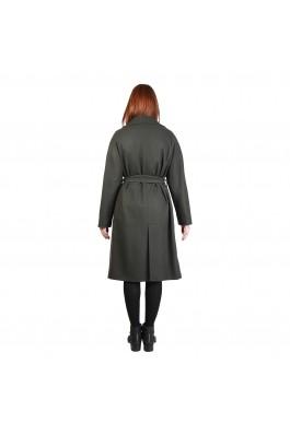 Palton Fontana 2.0 verde inchis din lana, cu nasturi
