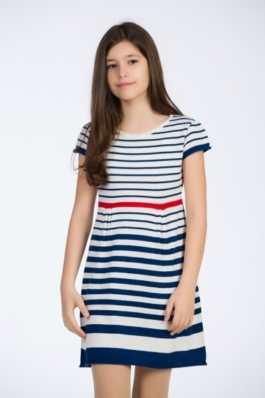 Rochie Be You alb/bleumarin tricotata in dungi