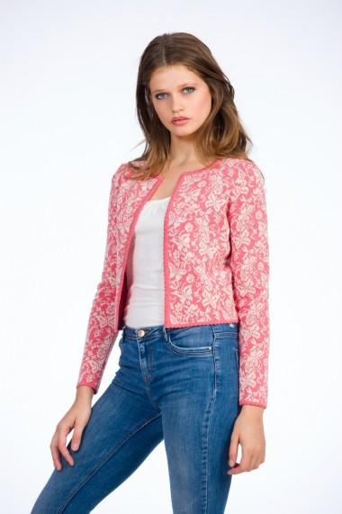 Jacheta pentru femei Be You cu fluturi bej pe fond roz