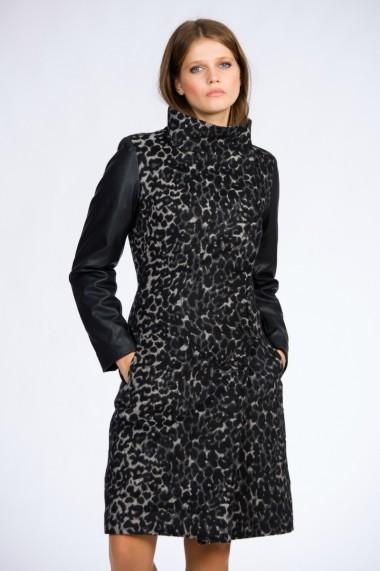 Palton pentru femei Be You cu animal print si maneci din piele ecologica