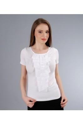 Tricou YOKKO din jerse elastic cu jabou de voal, alb, preturi, ieftine
