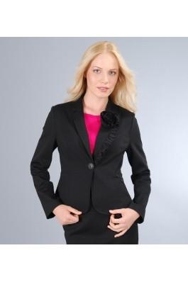 Sacou YOKKO din jerse elastic gros negru cu garnitura - Gri inchis