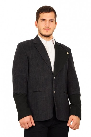 Sacou RVL Fashion gri cu rever din tricot
