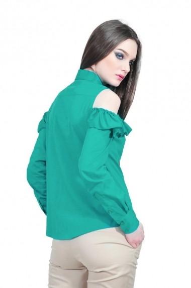 Camasa verde de dama cu volan, RVL rvl_D-2517-veD-e verde
