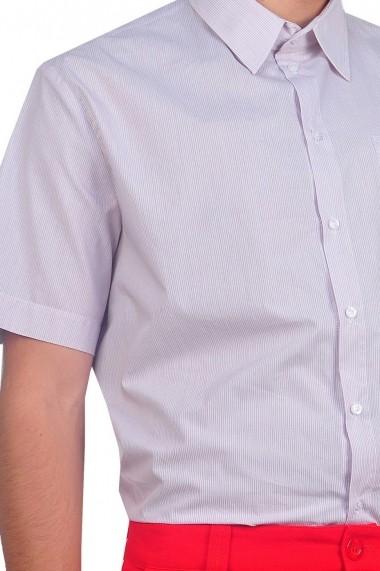 Camasi RVL Fashion barbati cu maneca scurta - alb/maro