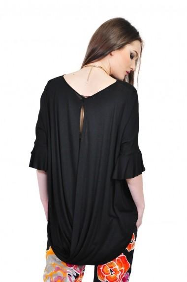 Bluza RVL Fashion neagra asimetrica de dama