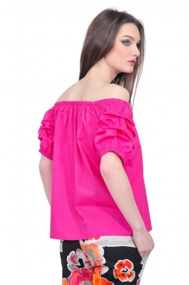 Bluza RVL Fashion roz de dama cu maneci scurte si incretite