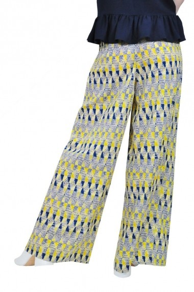 Pantaloni largi de dama, galben, RVL rvl D-2508-galben galben