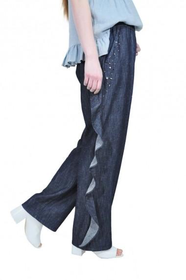 Pantaloni largi RVL Fashion din denim, cu volan rvl D-2532A-D-enim denim