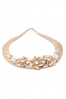 RS45 - Colier auriu cu flori perle si cristale - auriu, preturi, ieftine