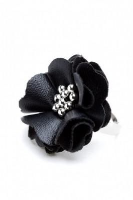 RS27 Inel reglabil cu floare din piele neagra - RS-Negru, preturi, ieftine